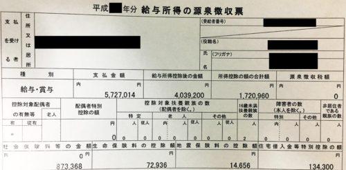 現役店長の源泉徴収票